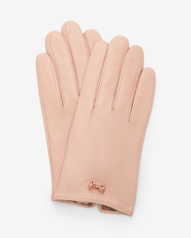 Metallic bow leather gloves - Pale Pink | Gloves | Ted Baker UK