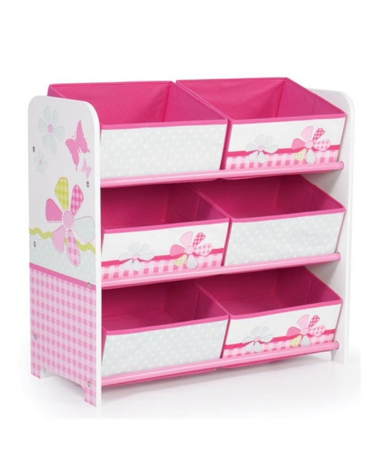 This useful 6 Bin Storage Unit is designed to make tidying up a pleasure rather than a chore. Its strong MDF frame and 6 fabric storage drawers are ideal for storing books, games and toys. The cute design has patchwork butterfly and flower theme that little girls will love. Matching items are also available from our website to complete the look of your child''s butterfly bedroom or playroom.
