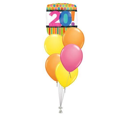 Tros Folie/Latex High-Float Ballonnen 20ste Verjaardag