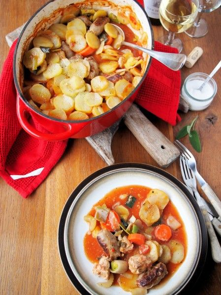 "Lavender and Lovage | Five-A-Day Family Supper Recipe: ""Sunday Lunch"" Chicken, Sausage and Vegetable Hotpot 
