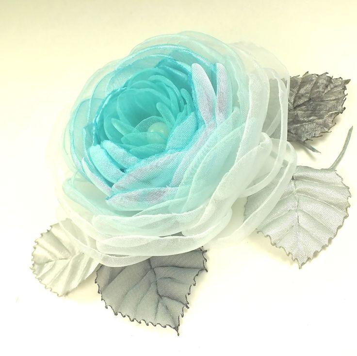 Купить Ветреная Роза. Брошь - цветок из ткани - бирюзовый, светло-голубой, голубой, белый, цветок