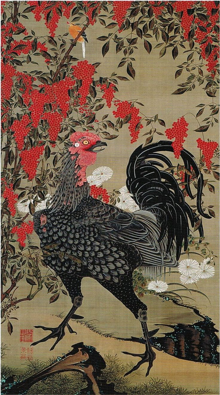 'Nandina and Rooster' from the 'Colorful Realm of Living Beings' by Ito Jakuchu - 伊藤若冲 - Wikipedia