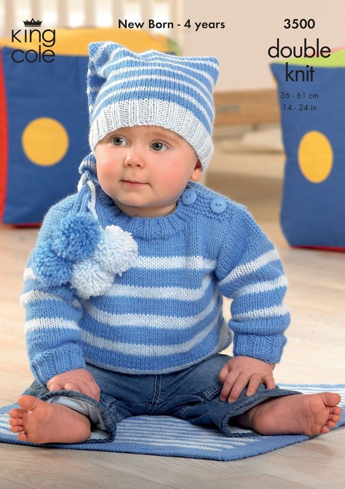 Sweater, Jacket, Hat and Blanket in King Cole DK - 3500 ...
