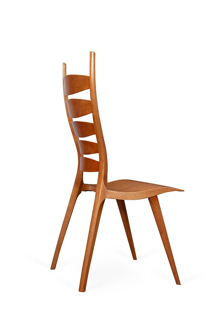 Cio Solid Wood Ladderback Side Chair Back Side View Side Chairs Chair Wooden Chair