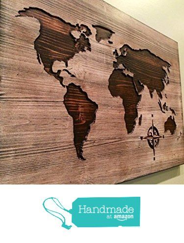 Large Carved world map wall art, world map home decor, world map decal, world map poster, distressed, chic, shabby, housewarming, wooden map from HowdyOwl