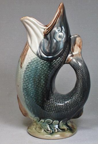 Antique majolica gurgle fish pitcher large size fish in art pinterest - Fish pitcher gurgle ...