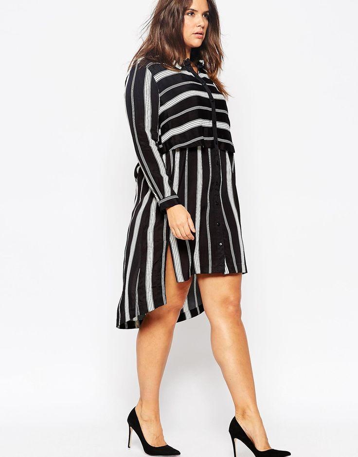 ASOS CURVE • Shirt Dress in Mixed Stripe