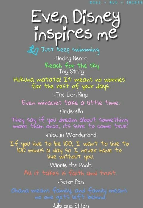 Cute Disney quotes. They'd be cute painted on the wall of a closet or bathro...