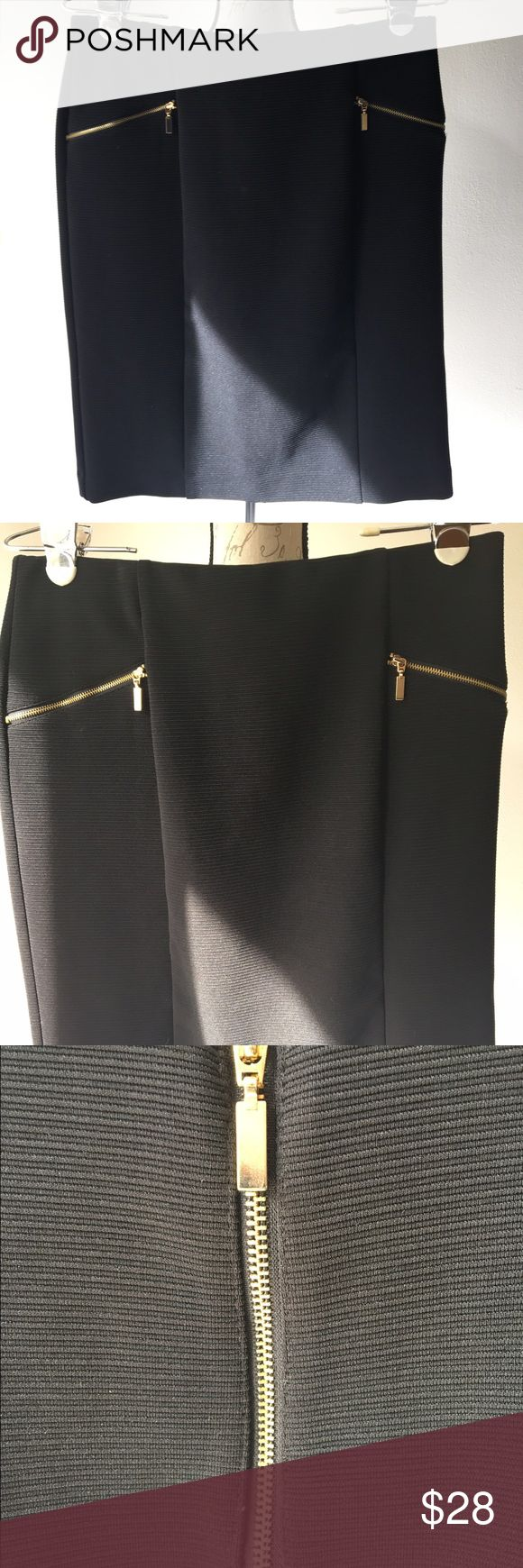 NWOT Black Skirt, Back gold zip up Sz 8 Beautiful black stretch skirt, great condition and comfortable for date night or professional wear. The Alfani brand is both durable and stylish! Alfani Skirts