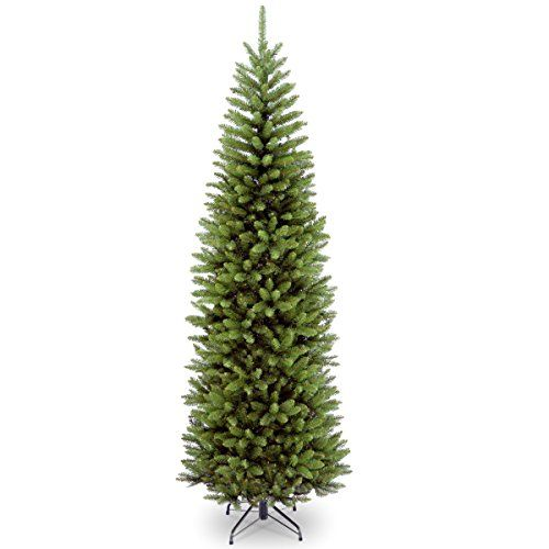 National Tree Company 7-1/2-Feet Kingswood Fir Pencil Tree National Tree Company http://www.amazon.com/dp/B009LA2DAU/ref=cm_sw_r_pi_dp_0B7oub1F3RE8X $78 not pre-lit