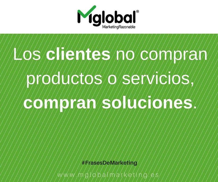 Los clientes no compran productos o servicios, compran soluciones. #FrasesDeMarketing #MarketingRazonable #MarketingQuotes