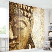 Traumhafte #Schiebegardinen #Ideen Sets 1-6teilig #Schiebevorhang #buddha #vintage #golden #gold #Raumtrenner #Raumteiler auf Bilderwelten.de