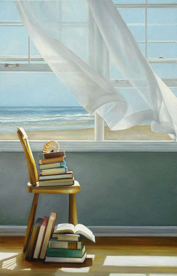 More than one favorite thing here...view of the sea...sound of the sea, smell of the sea...sea breeze through an open window...gauzy white curtains fluttering in the breeze... simple cottage by the sea and lovely books!!! (art by Karen Hollingsworth)