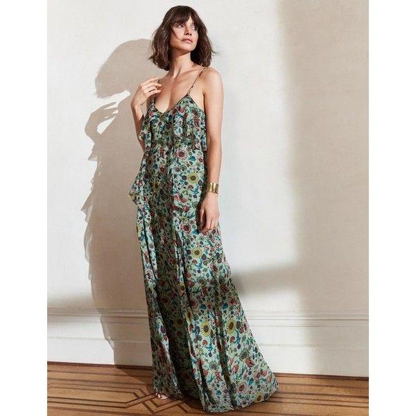 Boden Grace Silk Maxi Dress ($370) ❤ liked on Polyvore featuring dresses, green, green evening dress, cocktail dresses, green dress, cocktail maxi dresses and green maxi dress