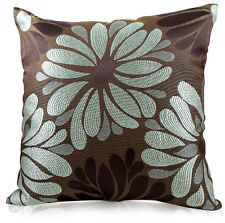 Tia Woven Floral Cushions - Duck Egg Blue & Brown Sofa Bed Scatter Cushion Cover