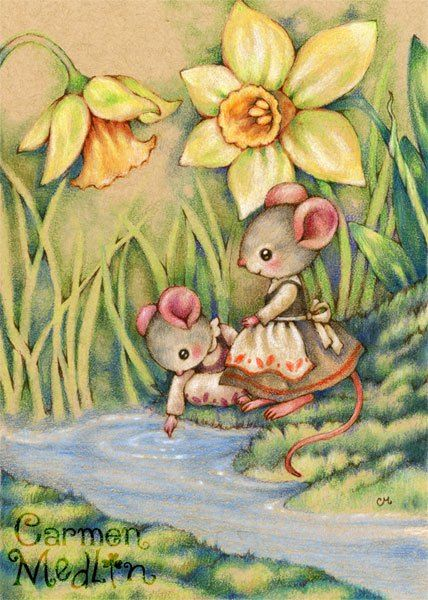 Sister Dearest - cute mouse colored pencil art by Carmen Medlin:  So adorable!  This reminds me of the two sisters in my church mouse stories who will be in the upcoming love story.  One chooses the boy next door, and the other follows Mrs. Middlejoy's nephew to his home in the Fields.