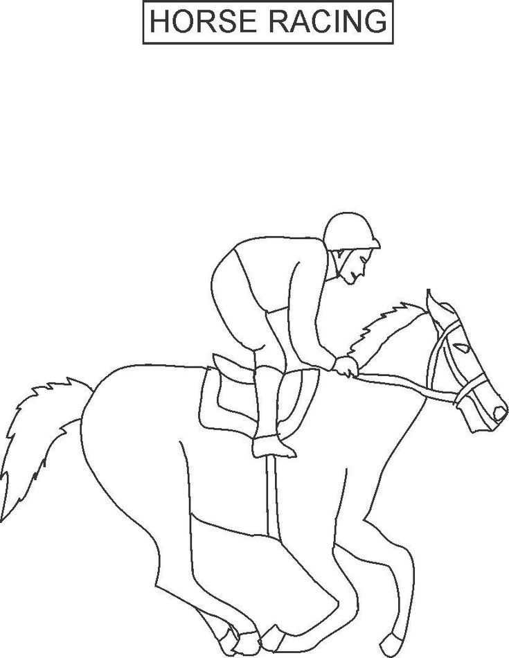 horse racing color pages | horse racing coloring