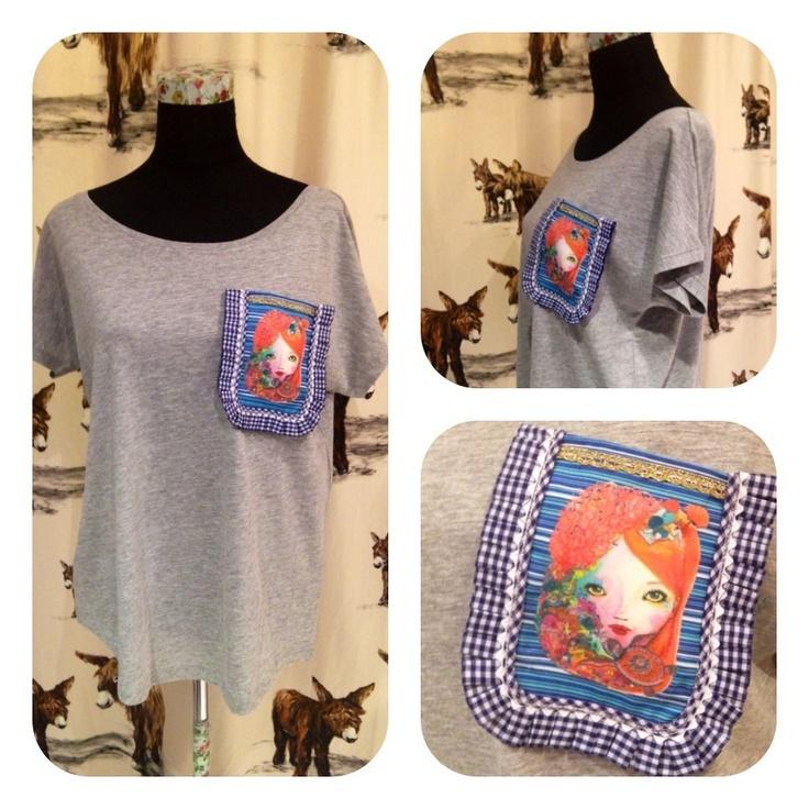 Camisetas relajada con bolsillo. Hombro al aire, anchita, pelín más larga por detrás, de un algodòn que os va a enamorar :)