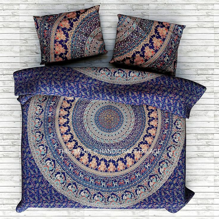 Elephant Mandala Boho Comforter Cover Bedding Throw Indian Handmade Duvet Cover #HandicraftPalace #Traditional #DoonaCoverDuvetCoverQuiltCover