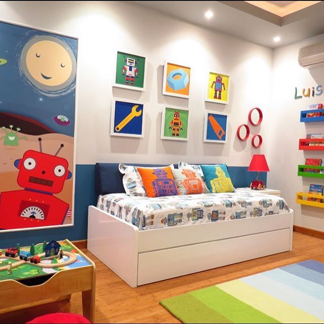 this robot themed room is spectacular love how bright and colorful this space is