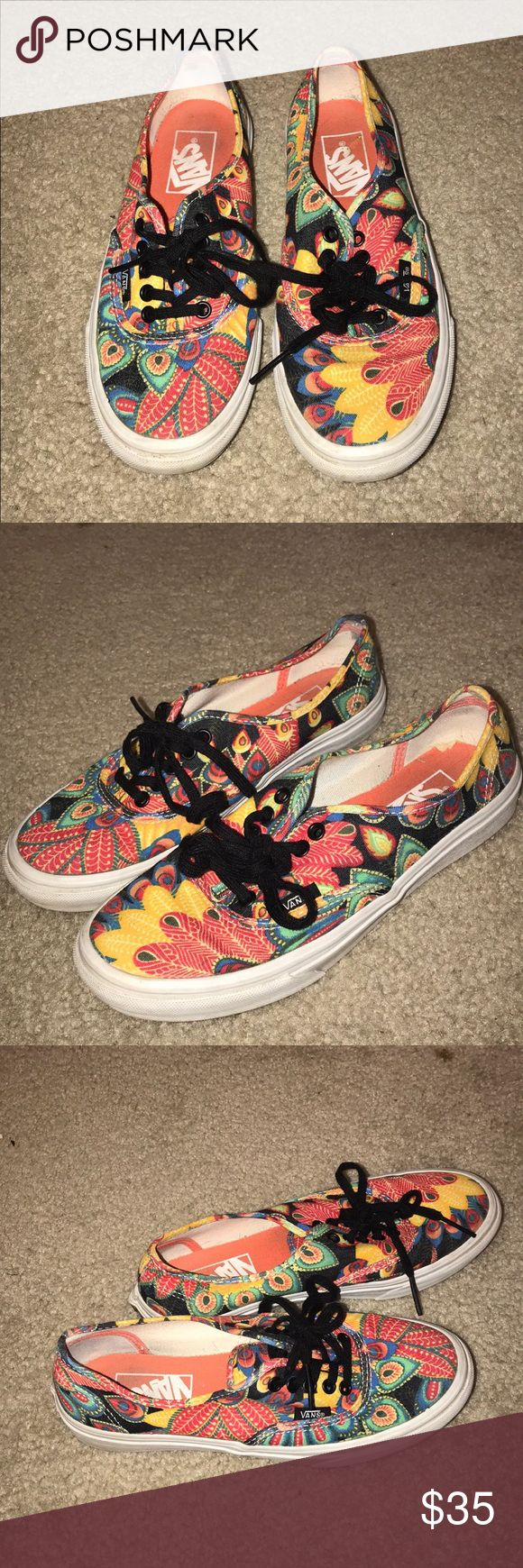 Vans Peacock & leaf colorful pattern Great condition! Very authentic rare colorful leaf & peacock print Vans. Price negotiable Vans Shoes Sneakers