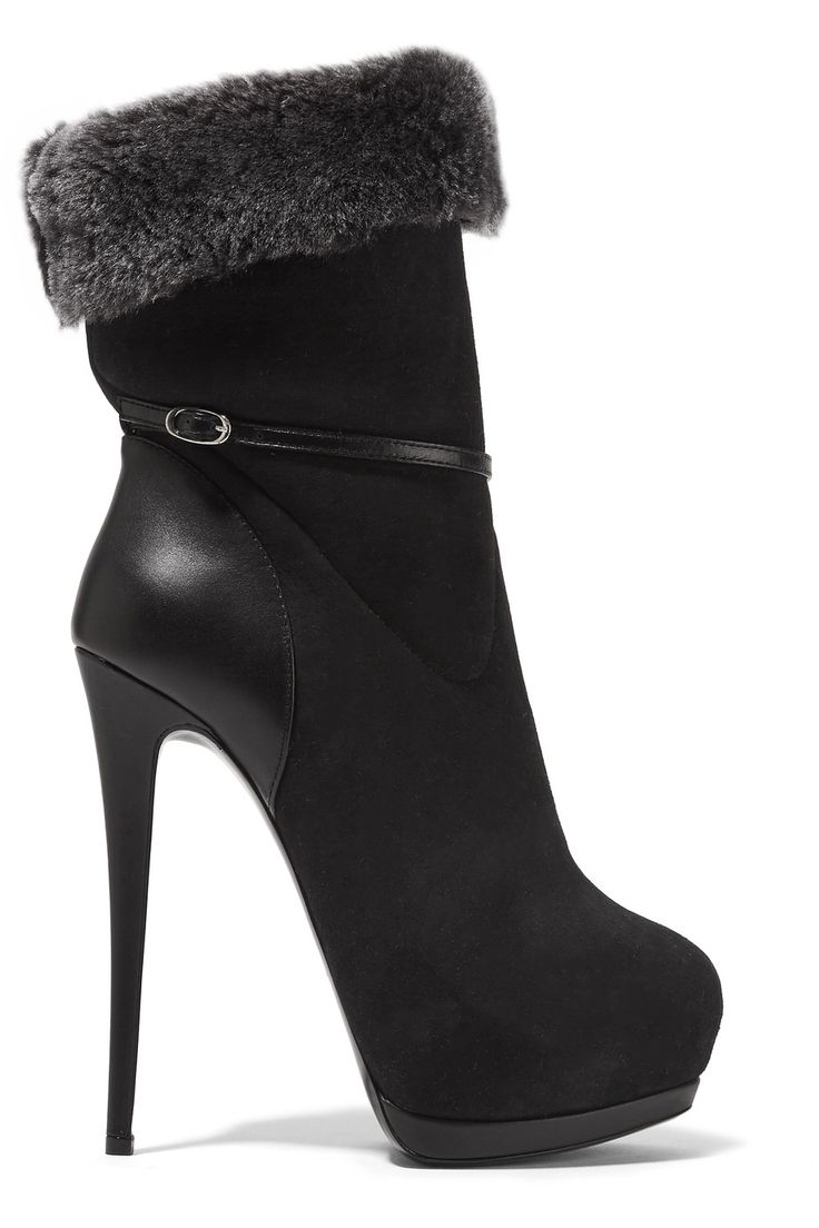 Shop on-sale Giuseppe Zanotti Faux fur-trimmed suede and leather ankle boots. Browse other discount designer Boots & more on The Most Fashionable Fashion Outlet, THE OUTNET.COM