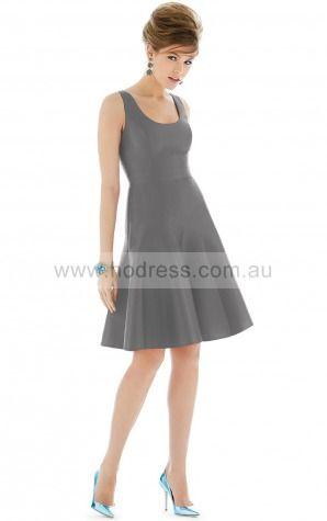 Satin Scoop Empire Sheath Knee-length Bridesmaid Dresses 0800107--Hodress