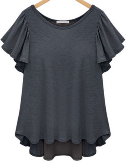 Grey Short Sleeve Ruffle Split Chiffon T-Shirt - Sheinside.com Mobile Site
