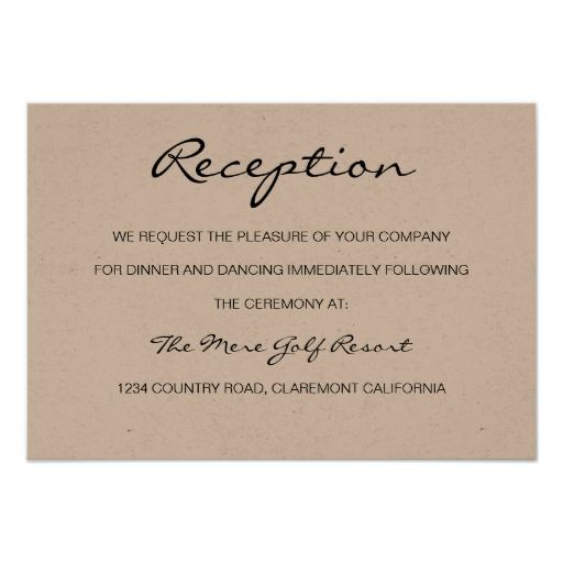 Rustic Romantic Reception or Accomodation Card 9cm X 13cm Invitation Card