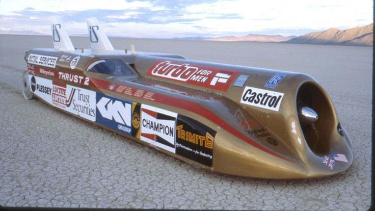 Richard Noble breaking the world speed record at Bonneville in 1983 with the Thrust2 blasting through the salt flats at 633.468 mph.