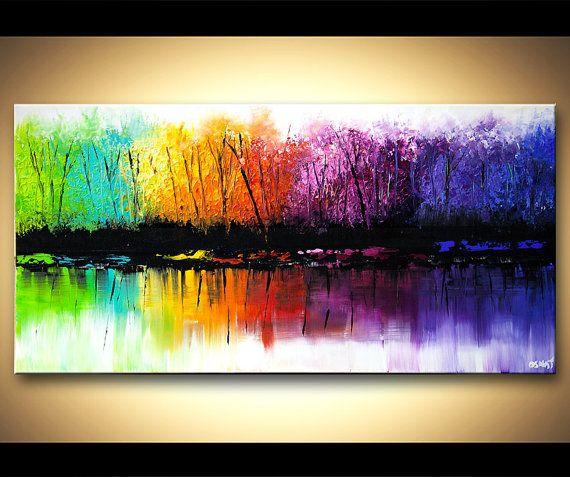 Colorido paisaje pintura óleo hecho por encargo.  La pintura que va a crear para usted será similar al que ves aquí, que ya he vendido. Voy a utilizar la espátula para crear una textura vibrante colorida. La pintura será creada y firmada por mí, el artista. La pintura estará lista para colgar. Me tomará 5 días hábiles para crearlo.  Título de la pintura: El cambio de estaciones Dimensión: 48 x 24 Medio: Acrílico sobre lienzo envuelto   Todos mis cuadros son creados con gran cuidado y se…