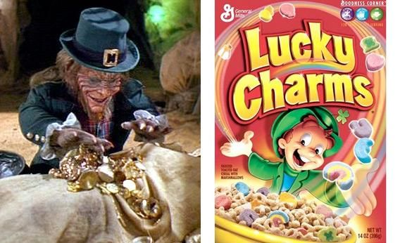 Leprechaun vs. Lucky Charms  Did leprechauns start out scary or cute?