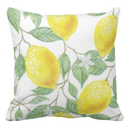 Watercolor Lemons Leaves Flowers Pillow - pattern sample design template diy cyo customize