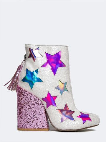 - Grab these glitter cowboy booties before it's gone! - Star ankle boots have holographic cutouts with a glitter encrusted upper and pink heel. Back zipper closure. - Brand: YRU - Style: Booties - Col