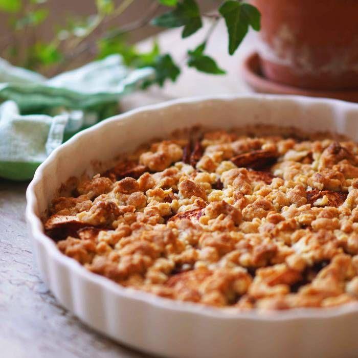 knäckig äppelkaka med havregryn