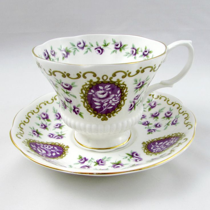 "Royal Albert Cameo Series ""Fairing"" Tea Cup and Saucer, Purple Tea Cup, Vintage Bone China, Royal Albert Cup and Saucer"