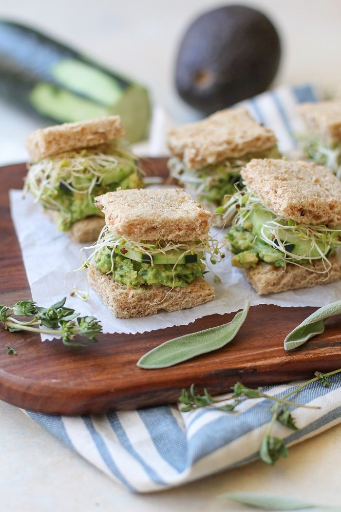 finger food ideas for bridal shower%0A Mashed Avocado Finger Sandwiches