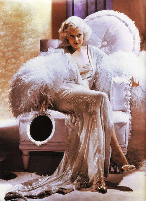 Jean Harlow -- In my fantasy life I would wear this everyday! Love the feathers, the sparkle, the hair, just love! :-D