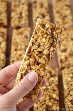 Skip the store-bought snacks and whip up this easy recipe for soft and chewy Homemade Peanut Butter Granola Bars studded with mini chocolate chips. | recipe from justataste.com #recipes #healthy #snacks #peanutbutter