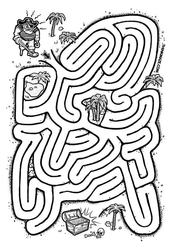 Pirate Treasure Maze to print