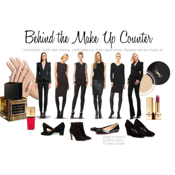 Behind the Make Up Sales Counter by stylisheverywear on Polyvore featuring beauty, Yves Saint Laurent, Max Studio, Jimmy Choo, Christian Louboutin and Via Spiga