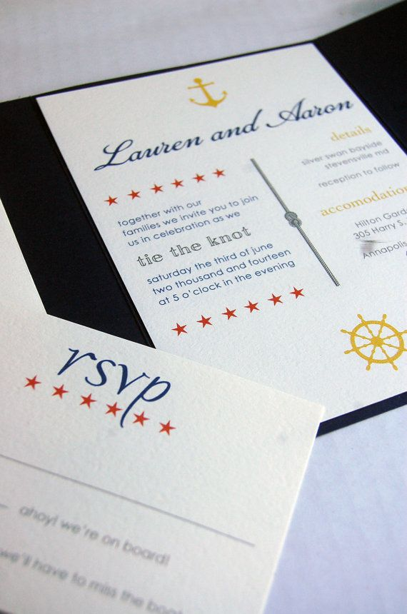 Items similar to Customizable Wedding Invitations Nautical