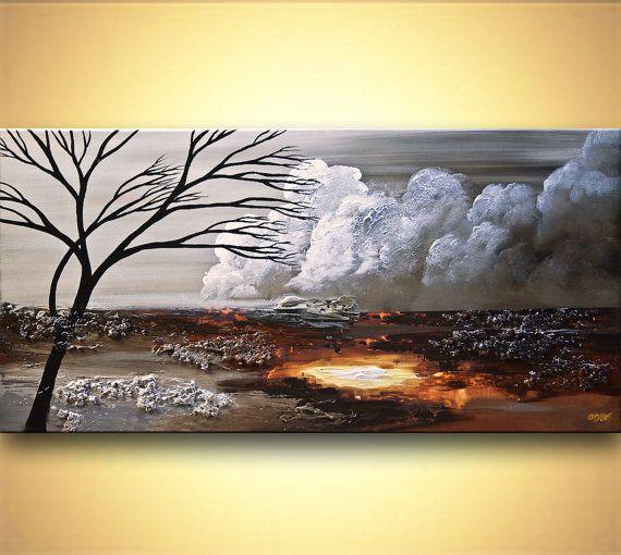 """Paysages abstraits, peinture argentée peinture texturée moderne par Osnat sur commande 60"""""""