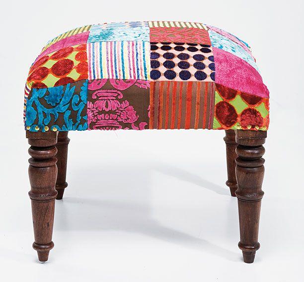Muebles Portobellostreet.es:  Set 2 Taburetes Velvet Patchwork - Taburetes Vintage - Muebles Vintage