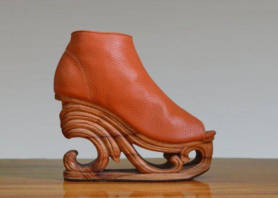 Wave - Hand Carved Wood Platform Wedge Heel