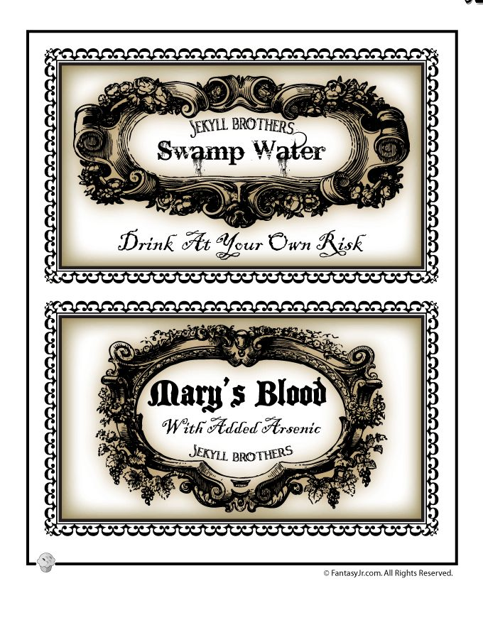 Printable Halloween Labels for Bottles and Potions Large Halloween Bottle Labels – Fantasy Jr.