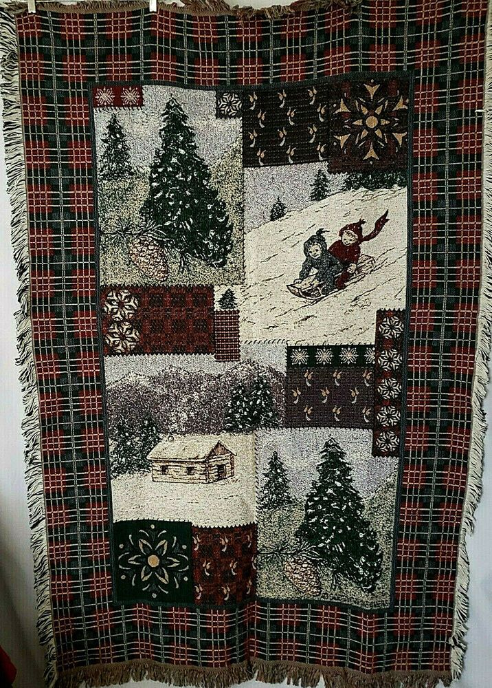 Goodwin Weavers Woven Tapestry Throw Blanket Christmas Winter