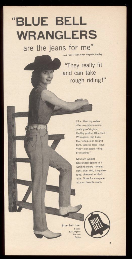 VIRGINIA HADLEY, rodeo trick rider, for Blue Bell Wrangler jeans