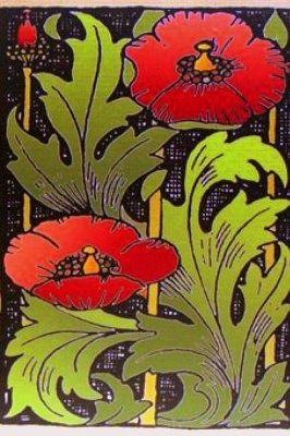 Art Deco Rode Klaprozen Red Poppies Plates Platters