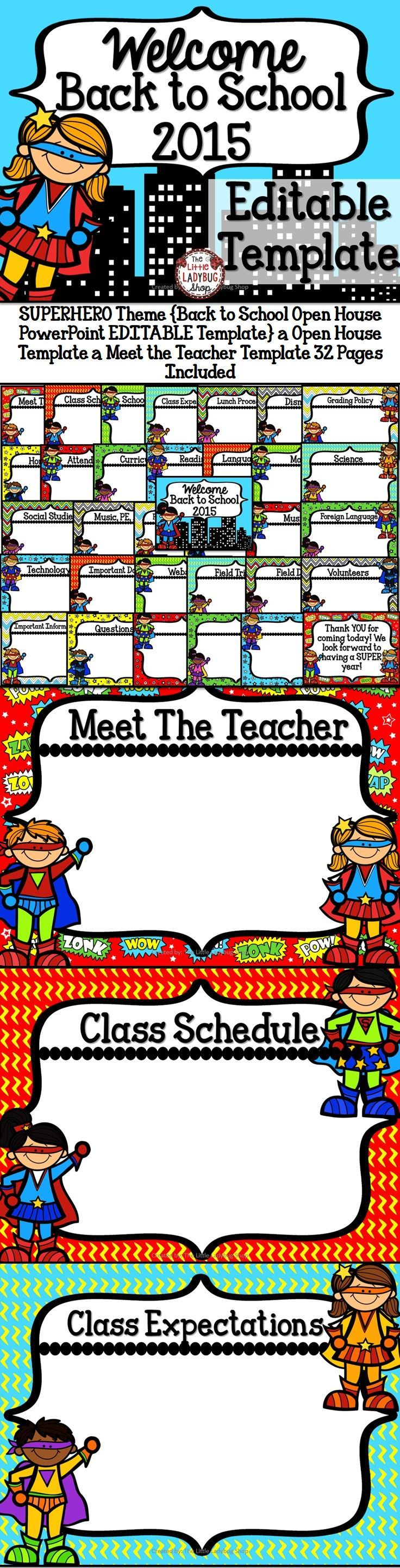 SUPERHERO Theme {Back to School Open House PowerPoint EDITABLE Template} | Open House Template | Meet the Teacher Template